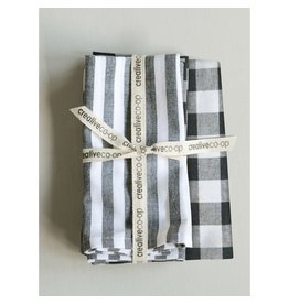 "Creative Co-op 18"" Square Cotton Napkins - Variety B&W/Gray"