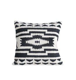 "Creative Co-op 24"" Square Cotton Kilim Pillow, Black & Natural"