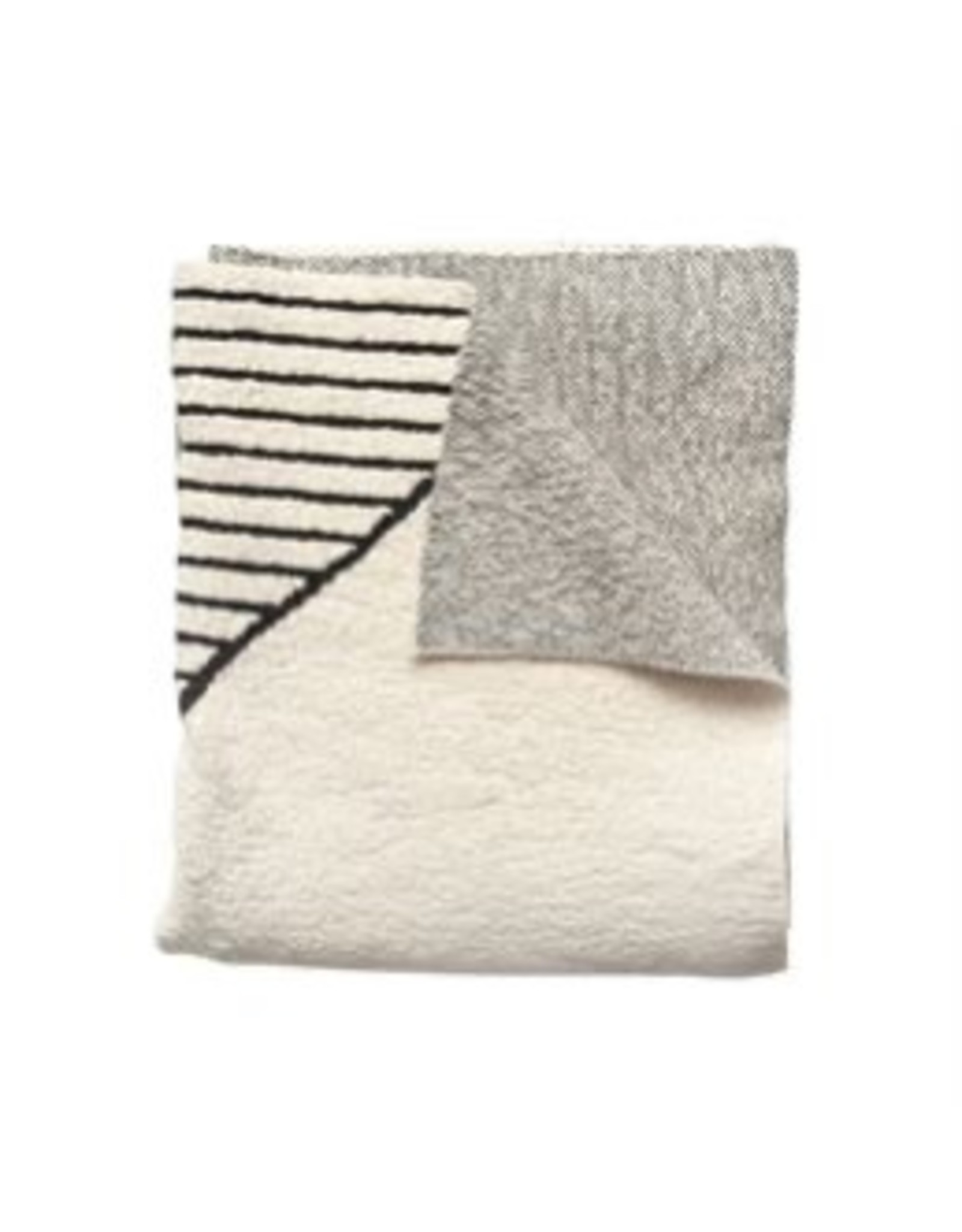 Bloomingville Cotton Knit Throw w/ Pattern, Cream & Black