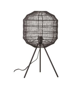 Bloomingville Black Metal Table Lamp With Paper Rope Shade