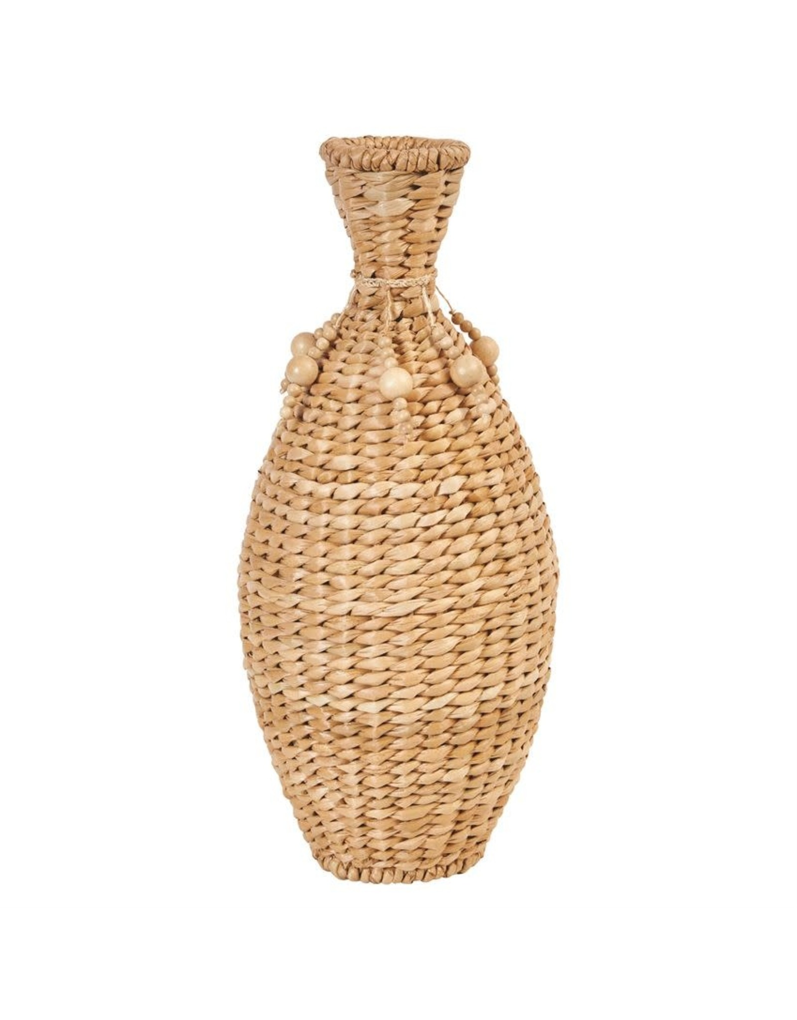 Bloomingville Hand-Woven Water Hyacinth Vase w/ Wood Beads