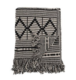 """Bloomingville 60"""" x 50""""  Recycled Cotton Throw with Fringe, Black & Beige"""
