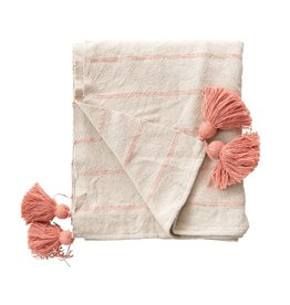 """Creative Co-op 60""""L x 50""""W Woven Recycled Cotton Throw with Stripes & Tassels, Pink"""