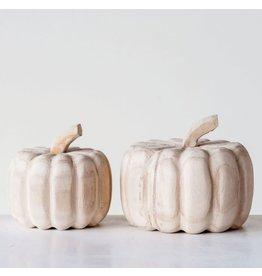 Creative Co-op Paulownia Hand Carved Pumpkin - small