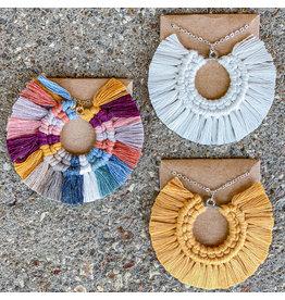 Timber Rose Designs Macrame Sun Ray Necklace - cream