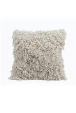 "Bloomingville 24"" Cotton & Rayon Shag Pillow - Cream"