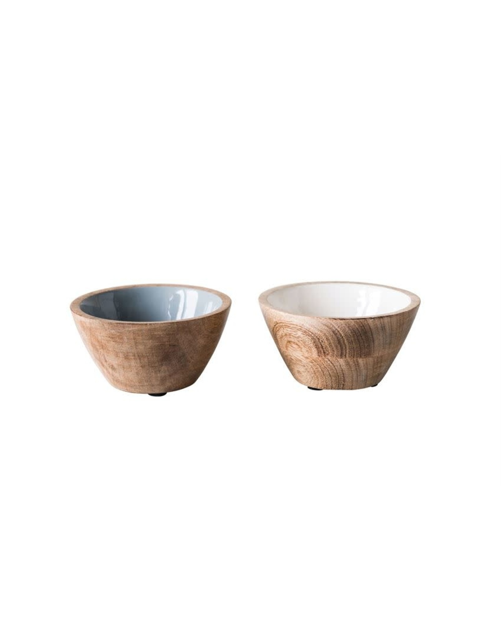 "Bloomingville 5"" Enameled Mango Wood Bowls"