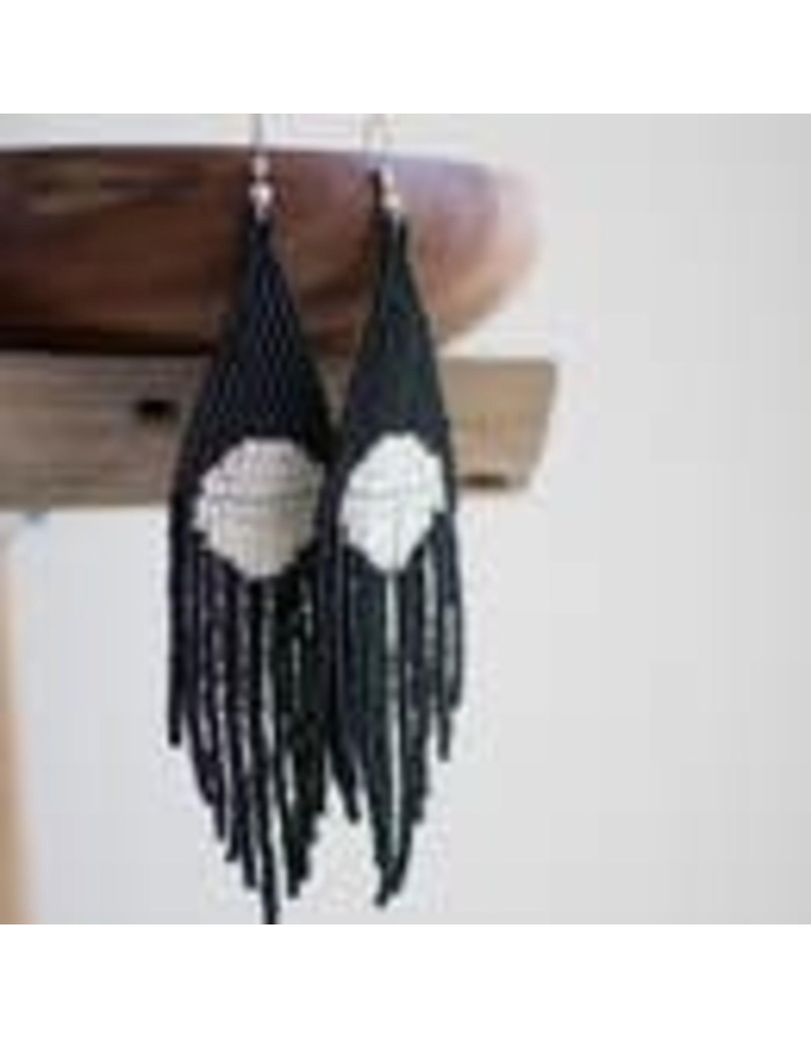 Fair & Simple B&W Beaded Fringe Earrings w/circle