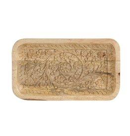 "Creative Co-op 10""L x 6""W Hand-Carved Mango Wood Tray"