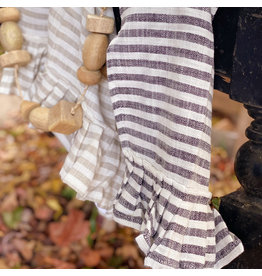 "Creative Co-op 28""L x 18""W Striped Tea Towel w/ Ruffle - Black"