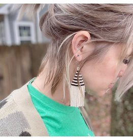 Fair & Simple Beaded Fringe Earrings Stripped