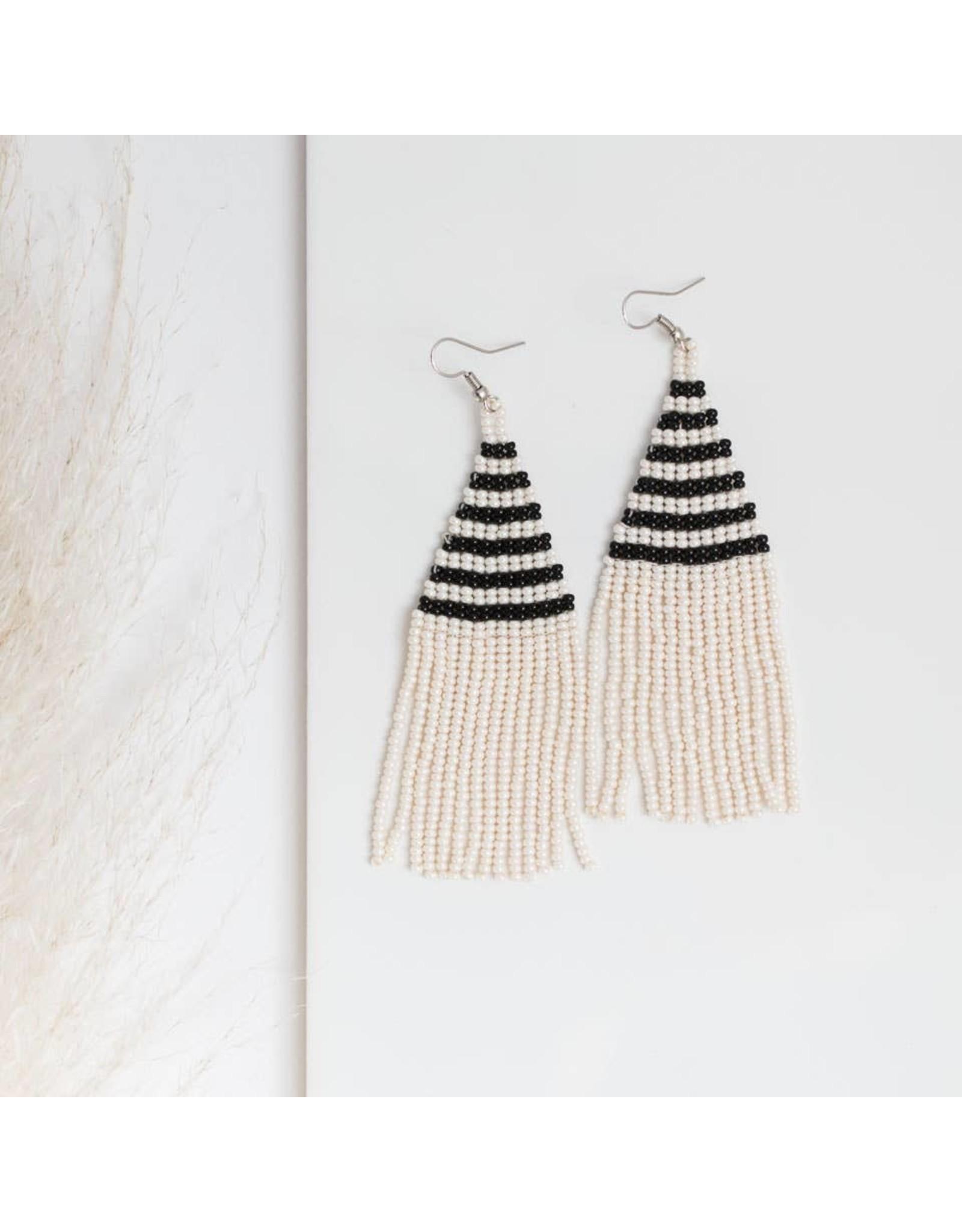 The Florist & The Merchant Striped Beaded Fringe Earrings, Black & White