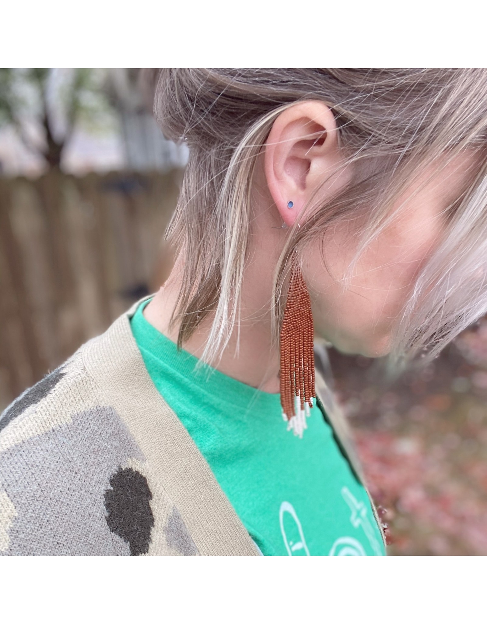Fair & Simple Beaded Fringe Earrings Texas Orange w/white tips