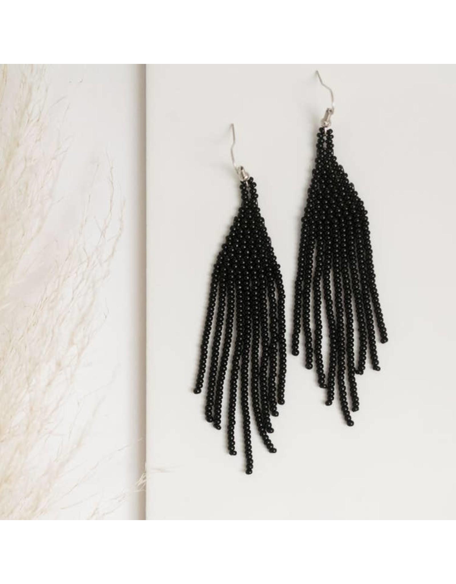 Fair & Simple Black Beaded Fringe Earrings