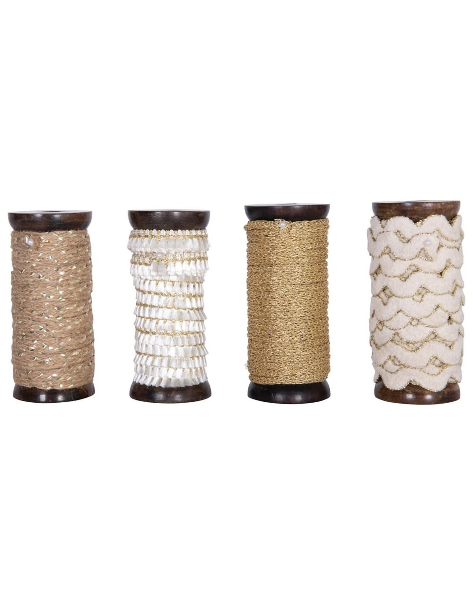 Creative Co-op Metallic Ribbon Spools - 10 yd - Cream Ric Rac