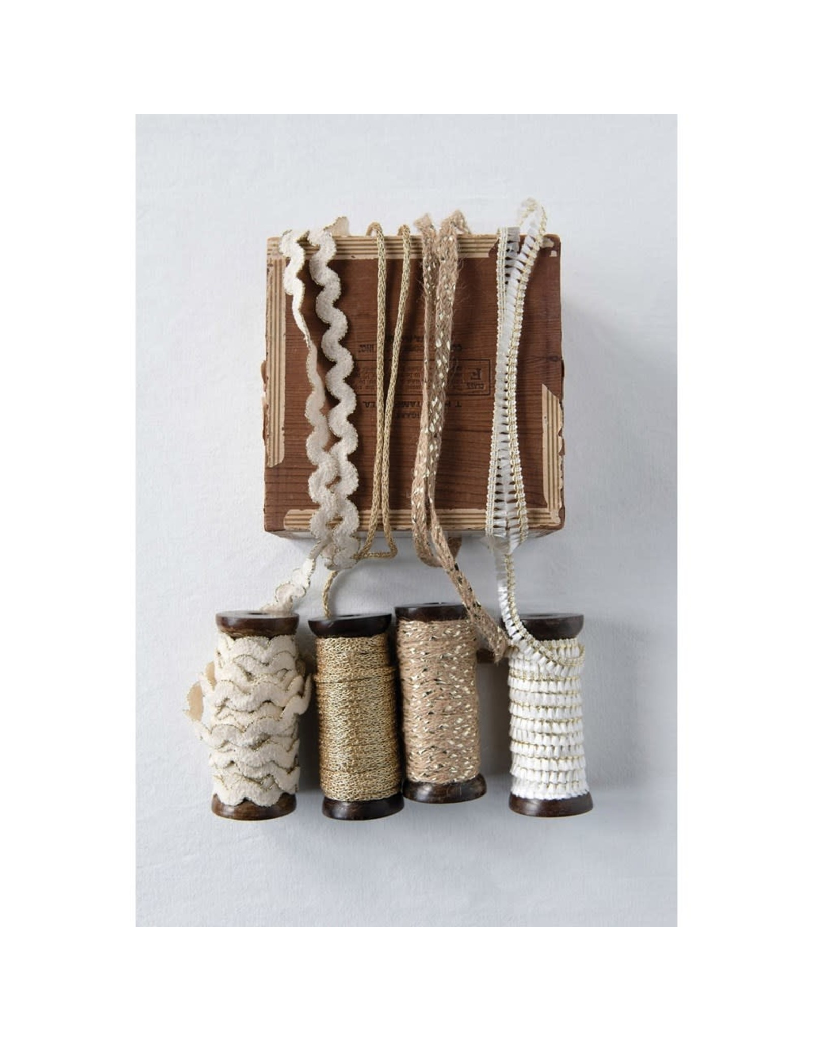 Creative Co-op Metallic Ribbon Spools - 10 yd - Cream Fringe