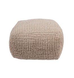 "Creative Co-op 24"" x 16"" New Zealand Wool Pouf - Cream"