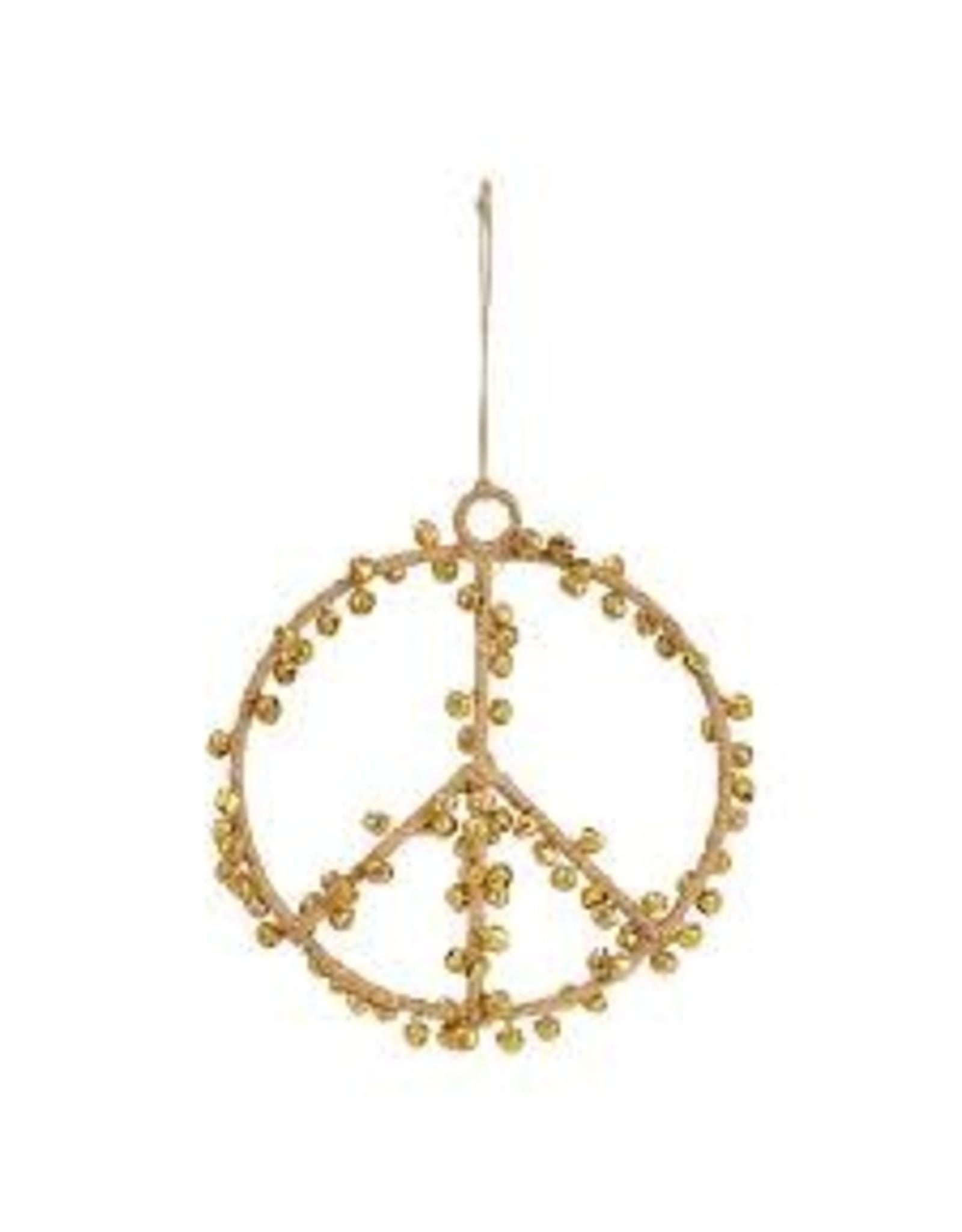 "Creative Co-op 5"" Jute Peace Sign Ornament w/bells"