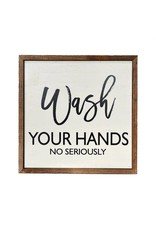 "Driftless Studios 10"" x 10"" Wash Your Hands Wood Sign Decor"