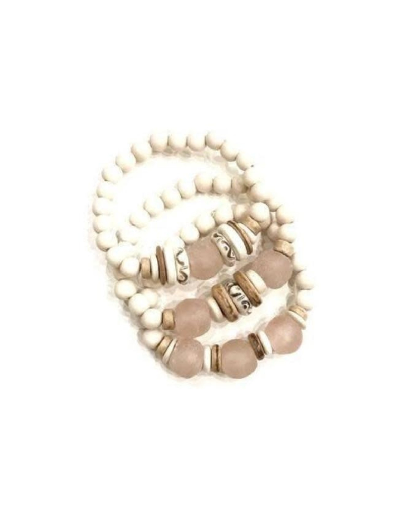 Twine & Twig Trio Stack Bracelet Set - White/Blush