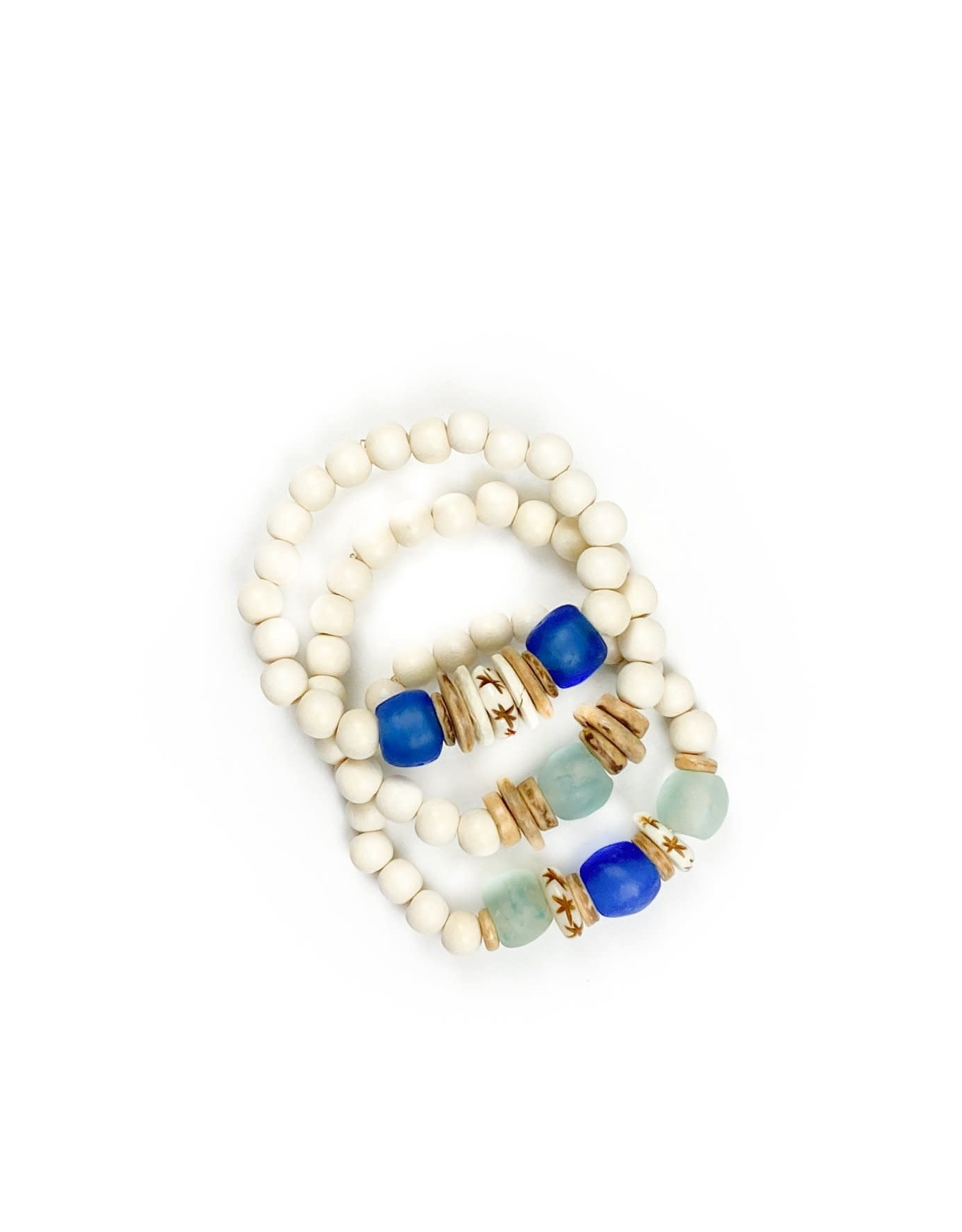 Twine & Twig Trio Stack Bracelet Set- White/Sea Blue
