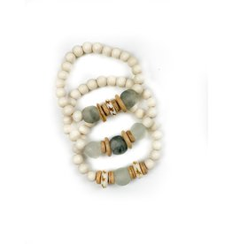 Twine & Twig Trio Stack Bracelet - White/Mist+Gray
