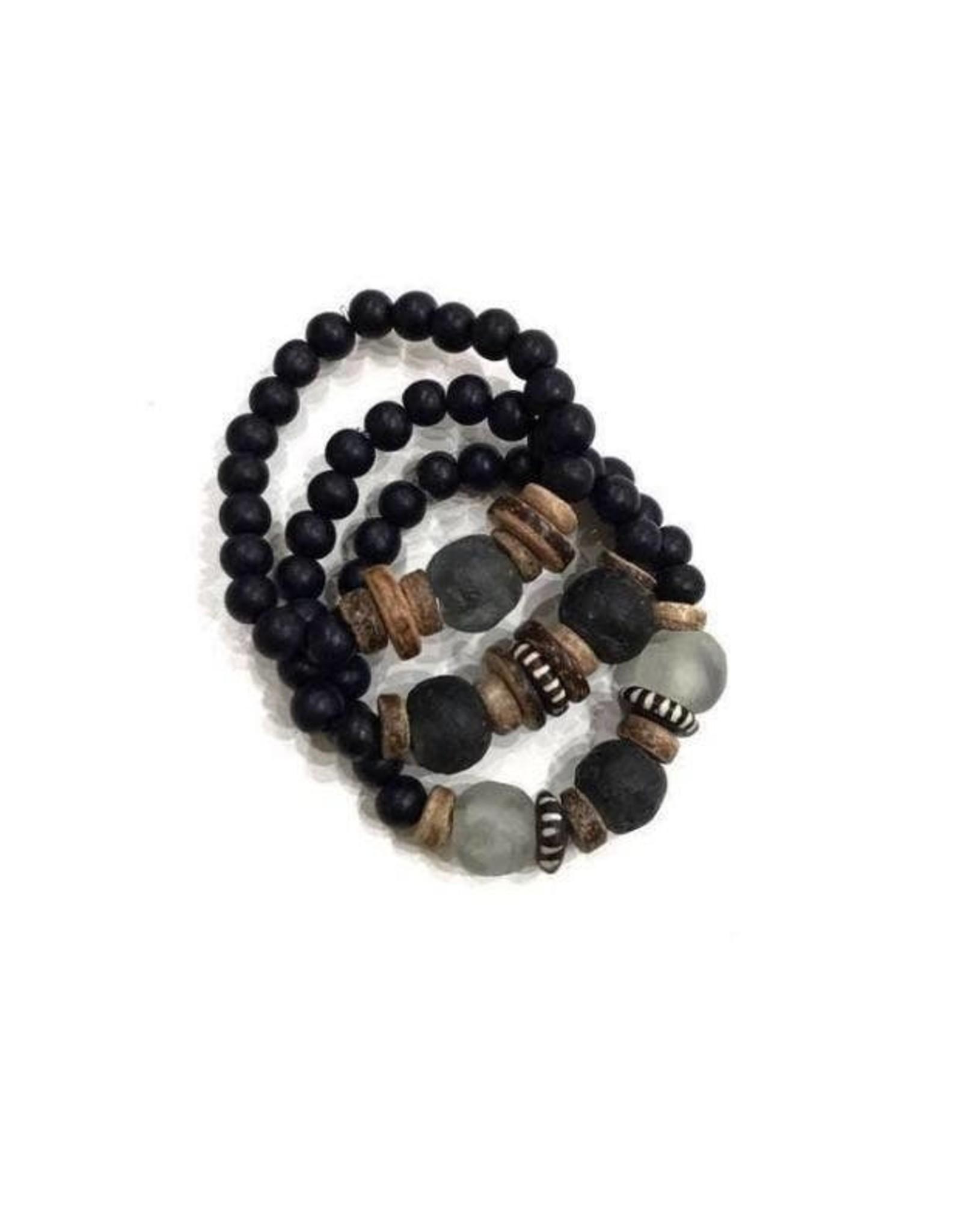 The Florist & The Merchant Trio Stack Bracelet Set - Black + Gray