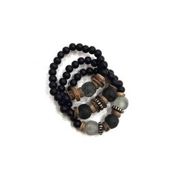 Twine & Twig Trio Stack Bracelet Set - Black + Gray