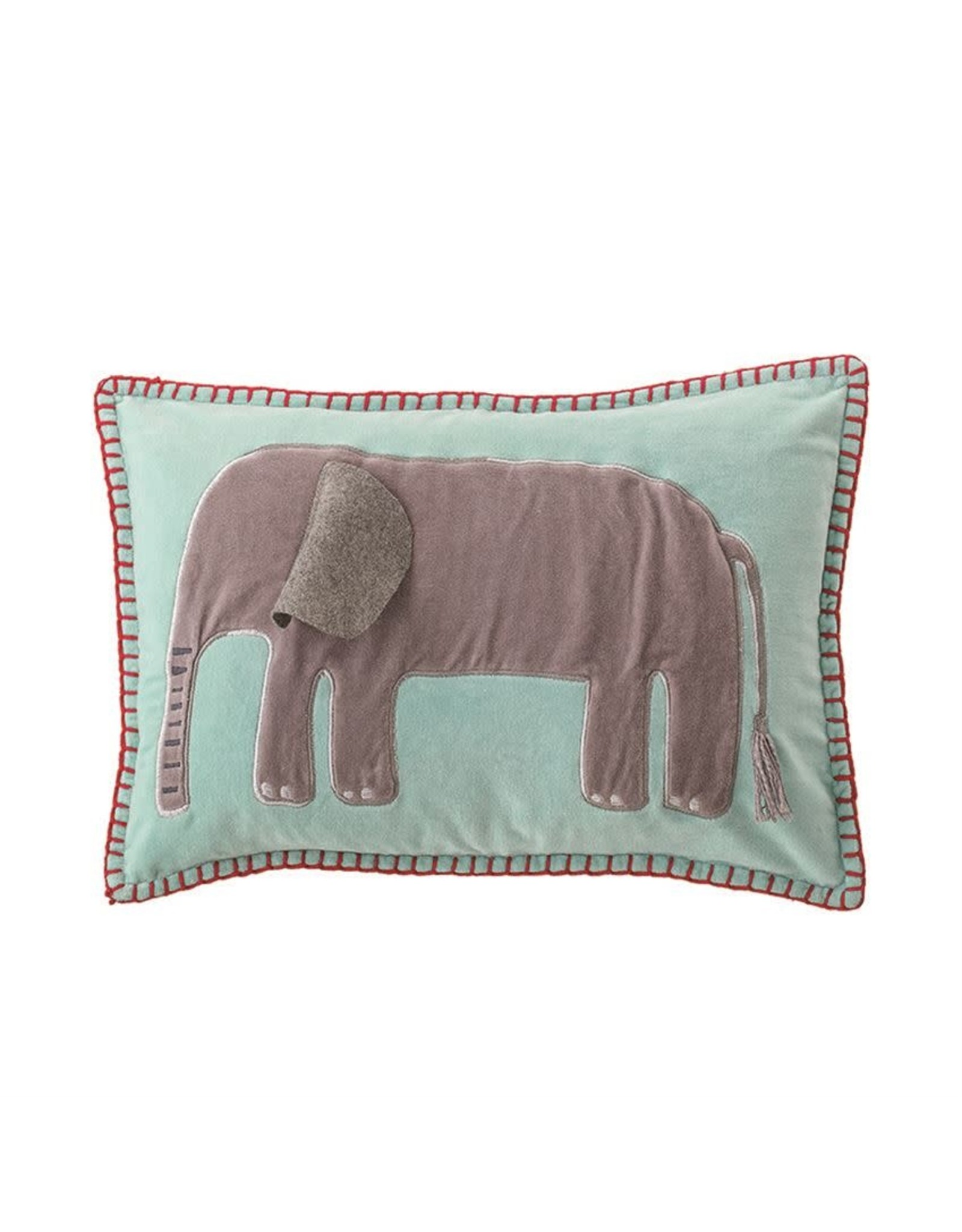 "Bloomingville 18""L x 12""H Cotton Velvet Embroidered & Appliqued Pillow w/ Elephant"