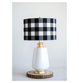 Creative Co-op Ceramic Lamp w/Buffalo Check Shade