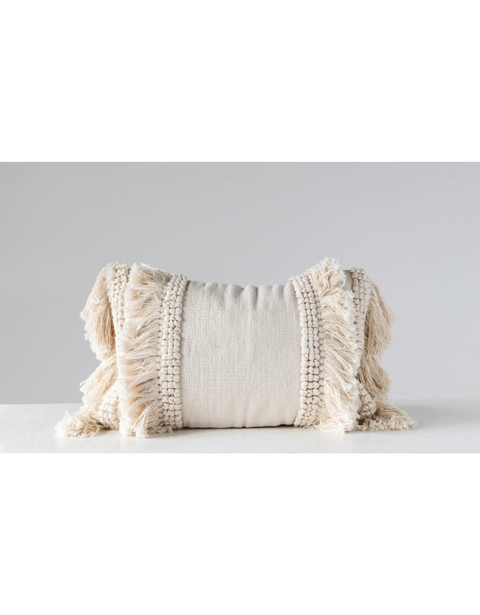 "Creative Co-op 24""L x 16""H Lumbar Pillow w/ Fringe, Cream Color"
