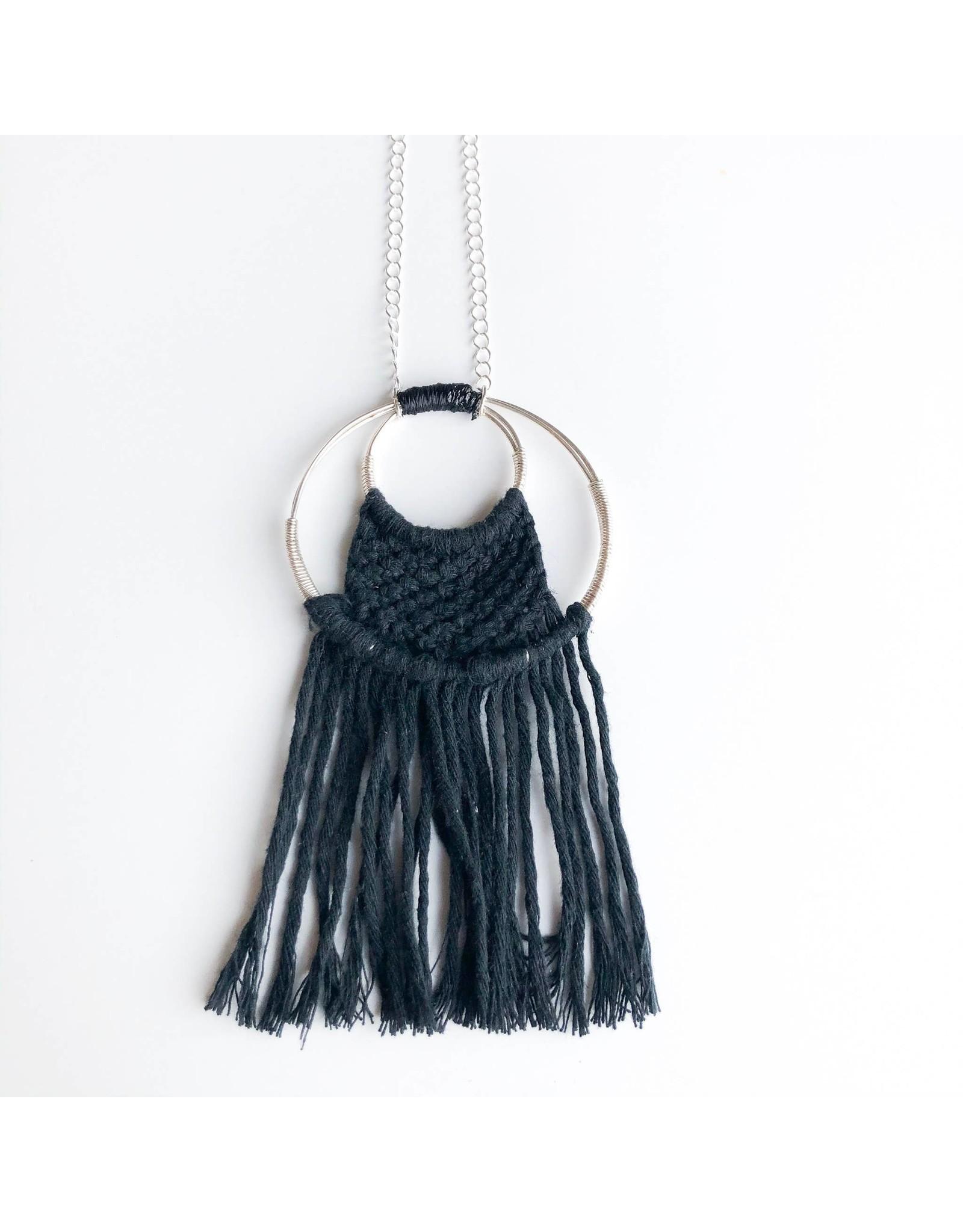 Hugg Mission Market Dream Catcher Sterling Silver Pendant - Black