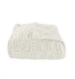 HiEnd Accents Chess Knit Throw - 50 x 60 - Cream