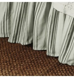 """Vintage Living Stripped Bedskirt 17"""" Drop - Cream/Taupe - Queen"""