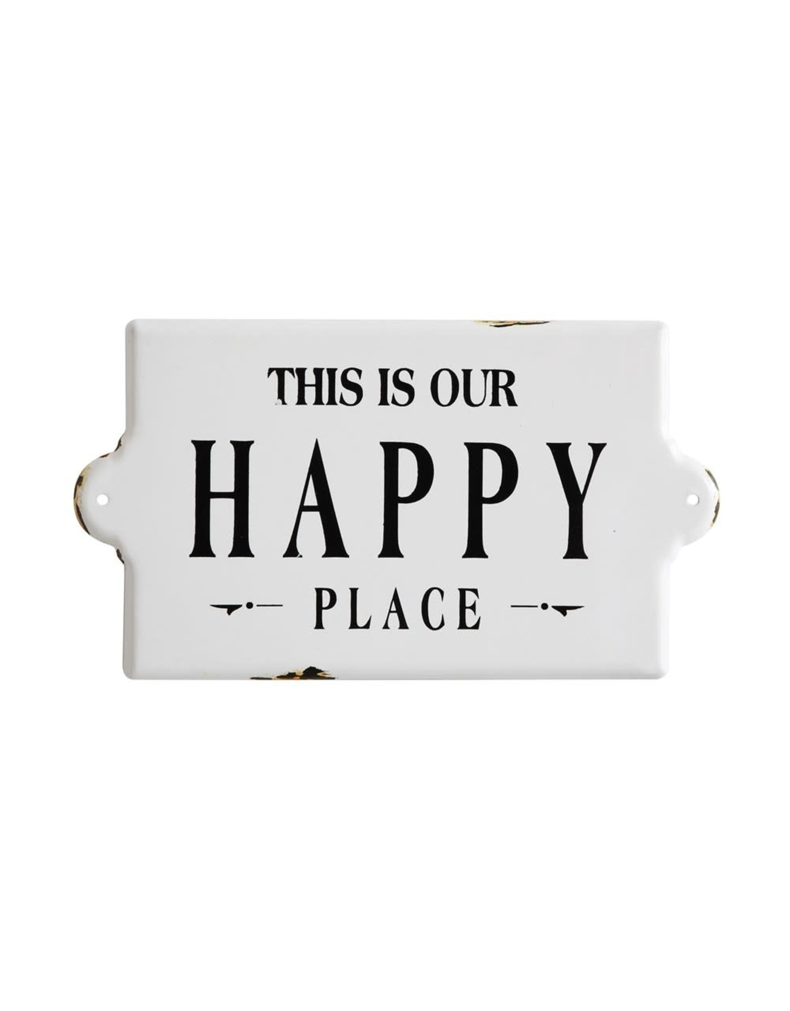 """Creative Co-op 14 1/2"""" Enameled Wall - Happy Place"""