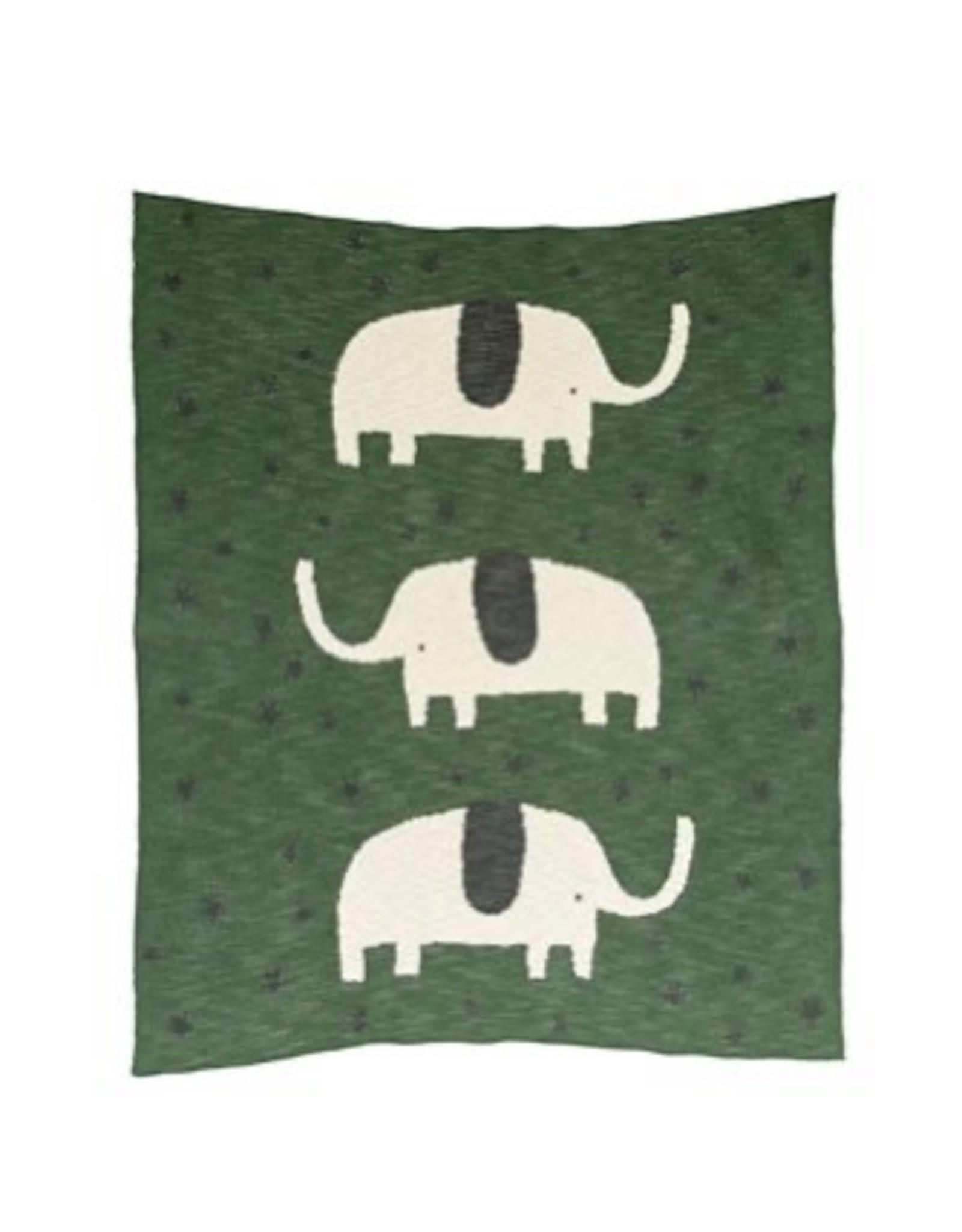 """Creative Co-op 40"""" x 32"""" Elephant Knit Blanket"""