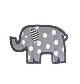 "Creative Co-op 44""L x 28""W Cotton Knit Elephant Rug, Grey w/ White Dots"