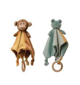 Creative Co-op Snuggle Teether Toy w/wooden ring - frog