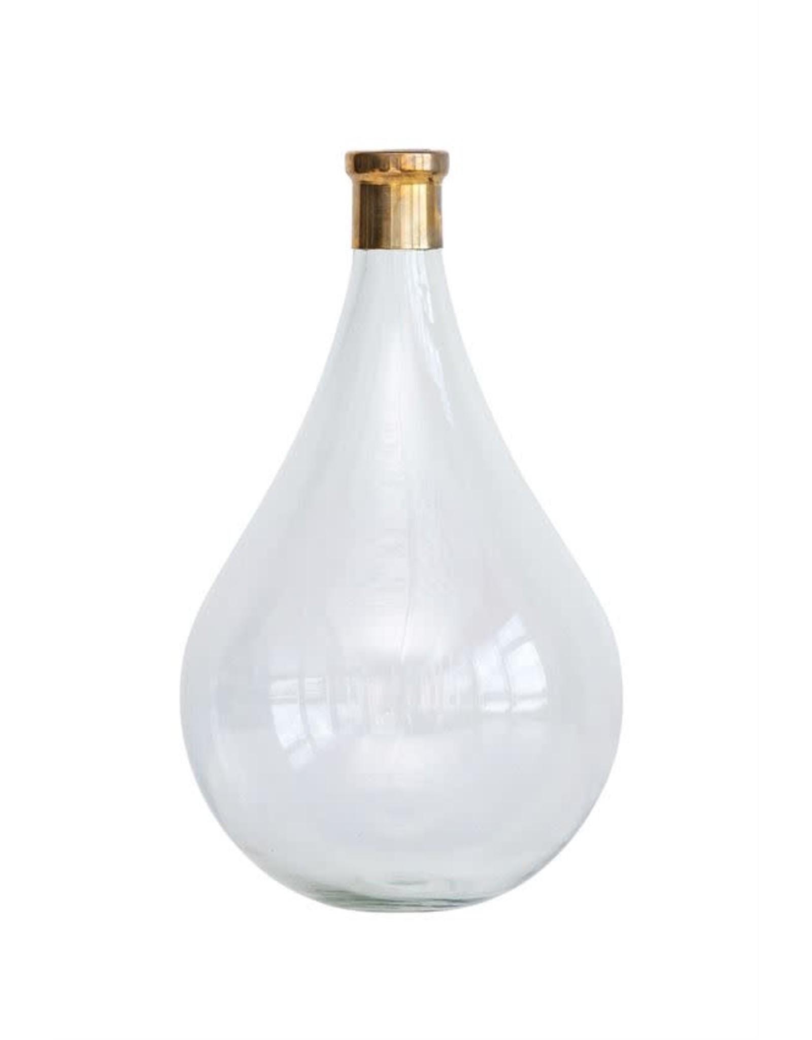 "Bloomingville 8-1/2"" Round x 15-1/2"" Glass & Brass Vase"