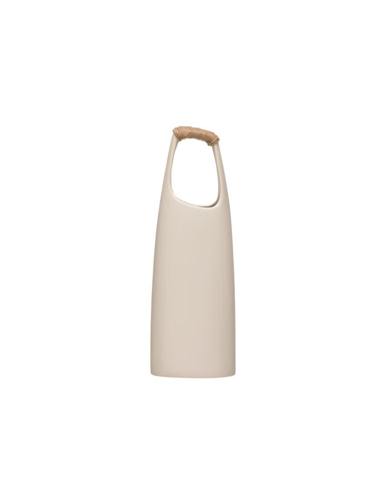 "Bloomingville 15 1/4"" Stoneware Vase w/Rattan Wrap Handle"