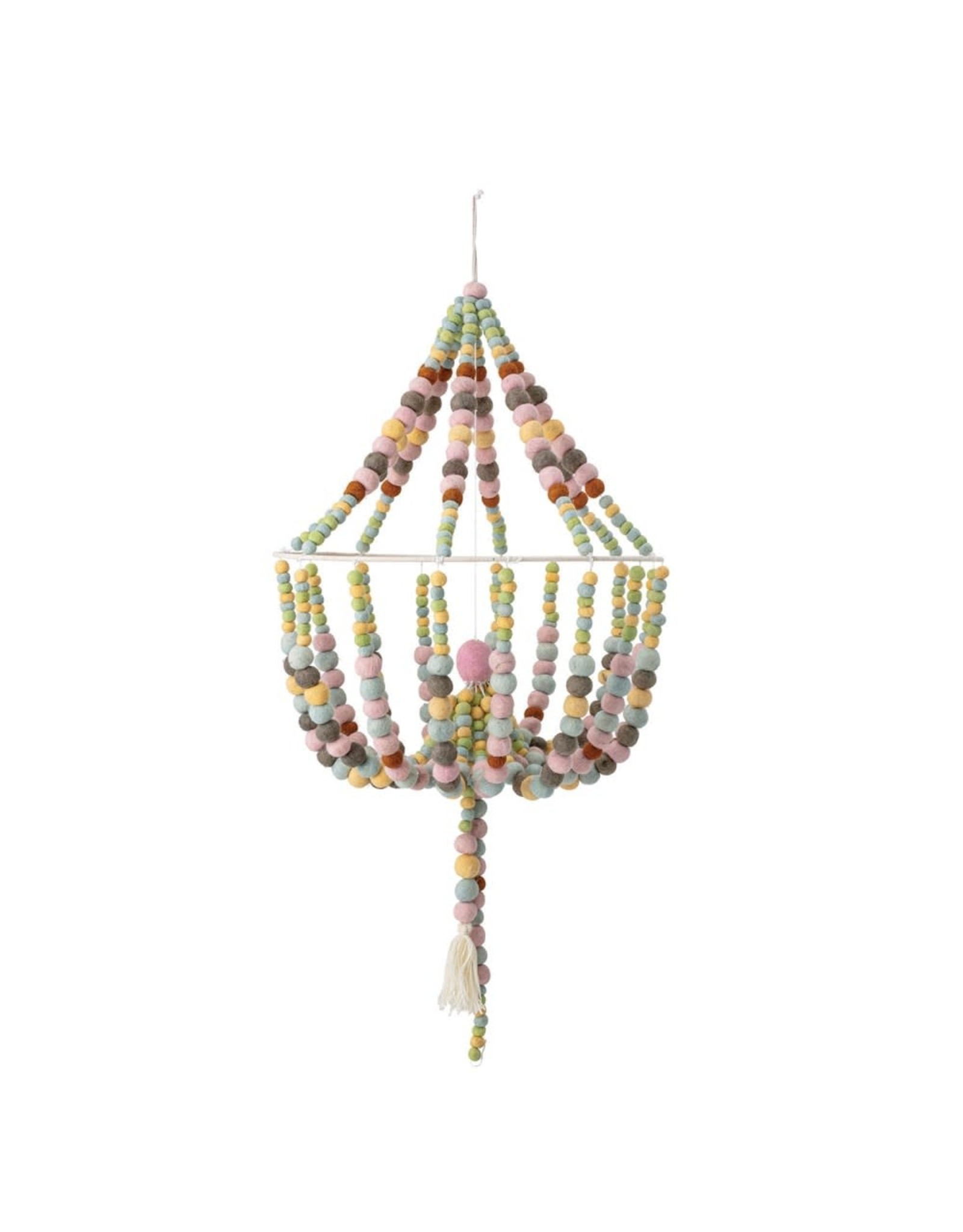 "Creative Co-op 18"" Round x 38""H Wool Felt Pom Pom Chandelier Shaped Mobile, Multi Color"