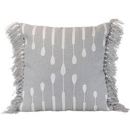 """Foreside Home & Garden 18"""" Woven  Indoor/Outdoor Pillow - Gray"""