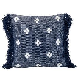 """Foreside Home & Garden 18"""" Woven Indoor/Outdoor Pillow - Navy/White"""