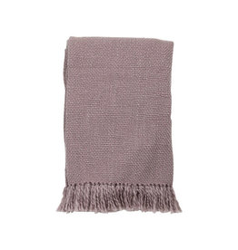 """Foreside Home & Garden 50"""" x 60"""" Woven Throw w/Fringe - Lilac"""