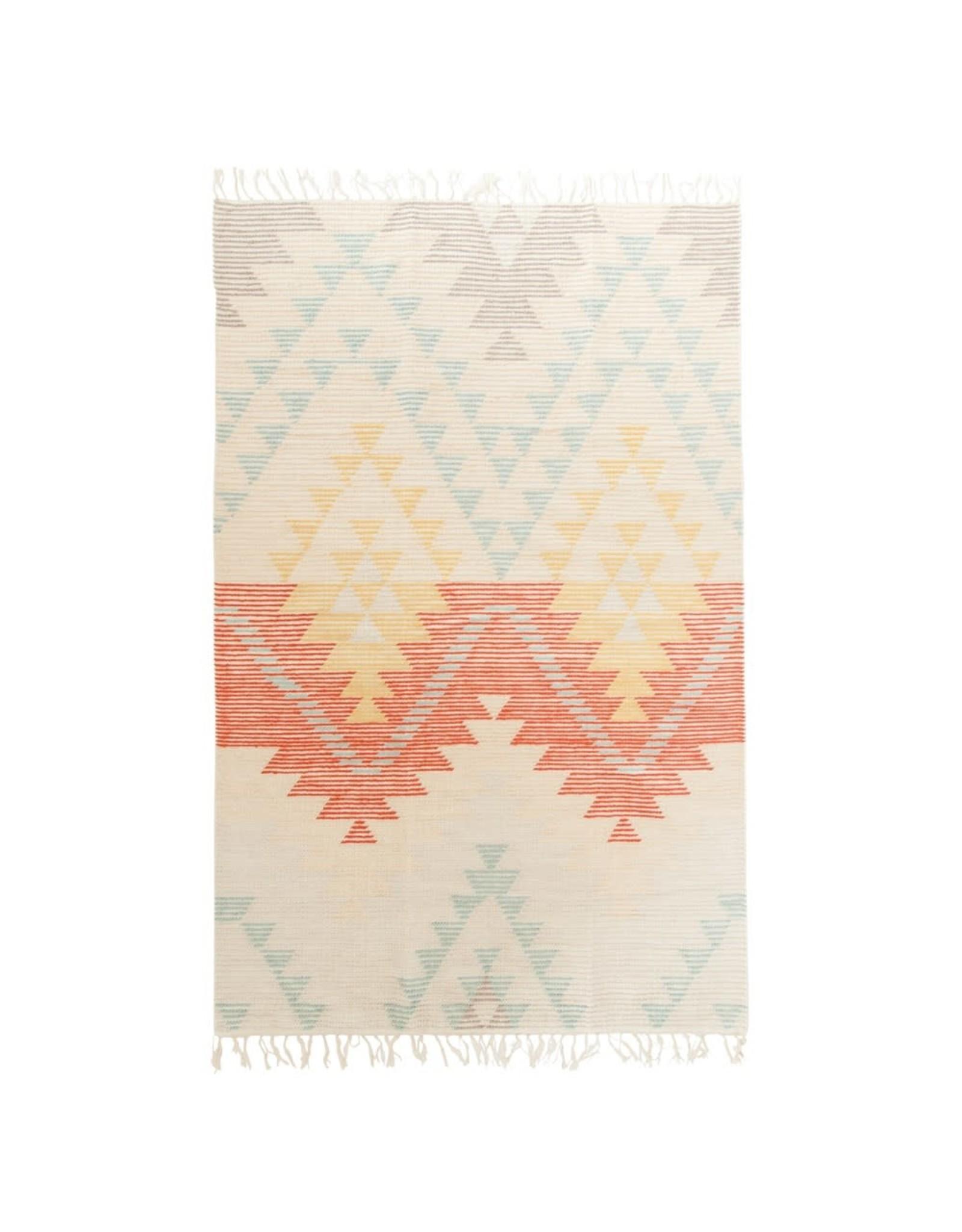 """Creative Co-op 4"""" x 6"""" Hand Woven Wool Blend Kilim Rug"""