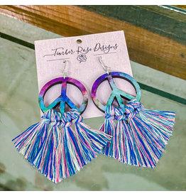 Timber Rose Designs Peace Macrame Earrings - Multi Colored