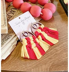 Timber Rose Designs Wooden Half Moon Macrame Earrings - Gold & Red