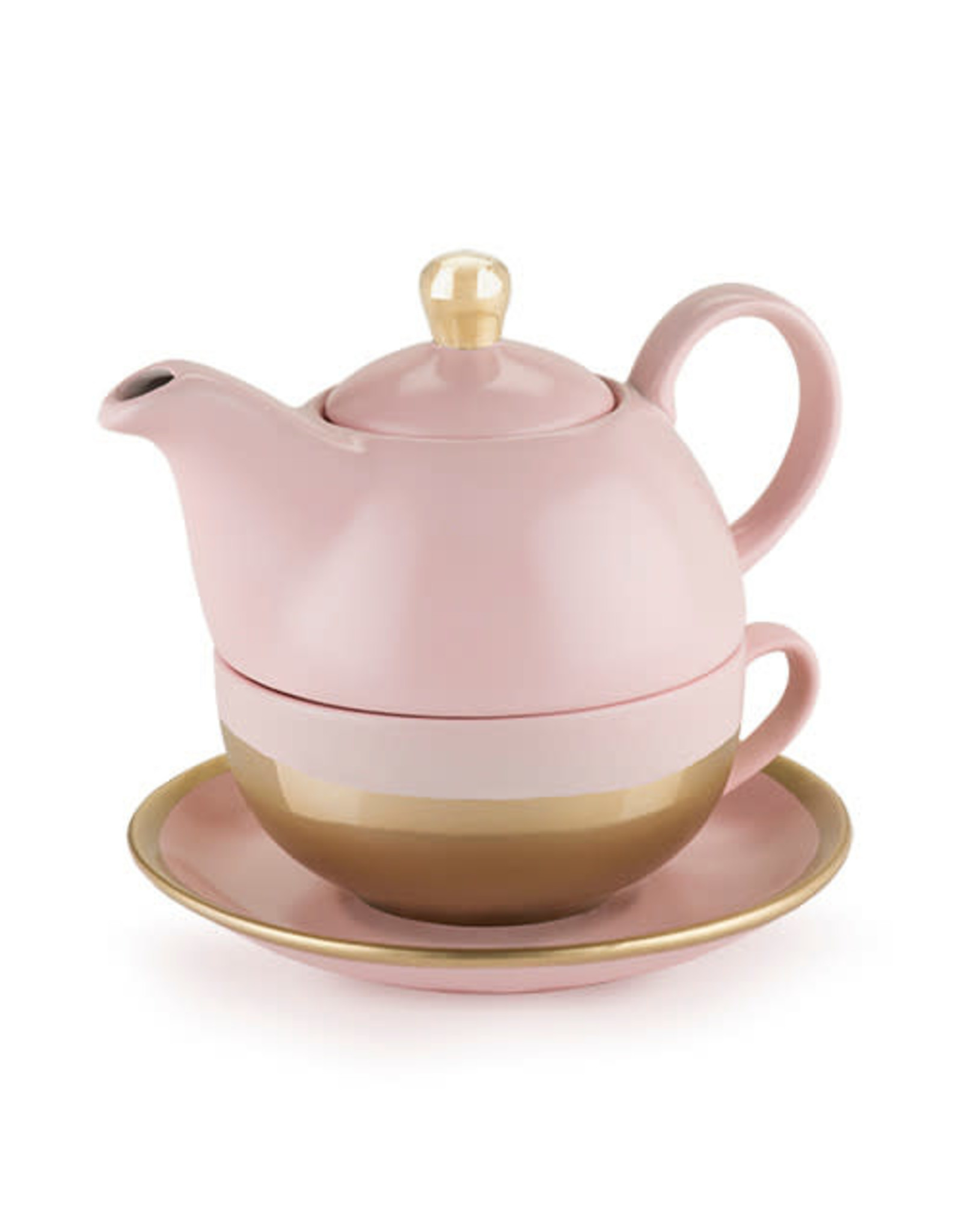 Pinky Up Addison Pink and Gold Tea For 1 Set