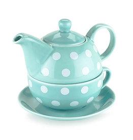Pinky Up Addison Teal Polka Dot Tea For 1 Set