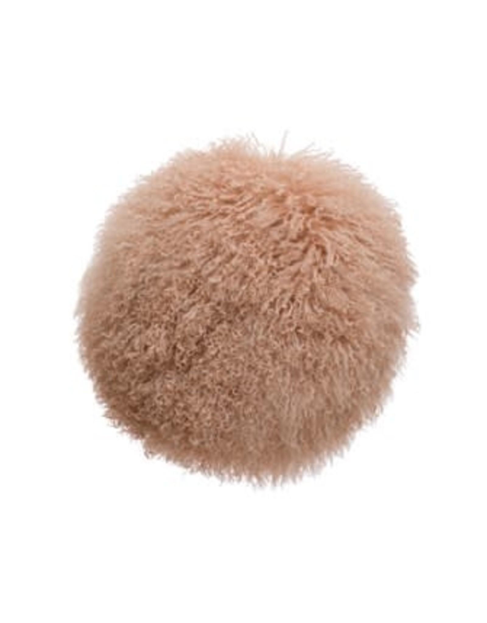 "Creative Co-op 16"" Round Mongolian Lamb Fur Pillow, Blush Color"